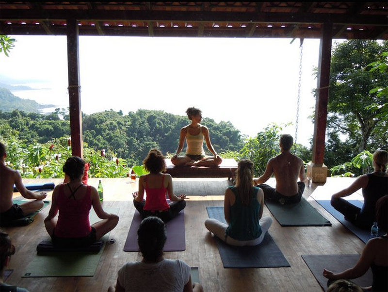 Participants are practicing Yoga in Anamaya Yoga Resort