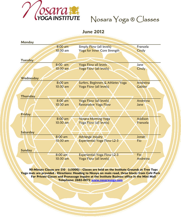Routine of Nosara Yoga Institute
