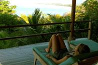 A paticipant is relaxing in a beautiful veranda