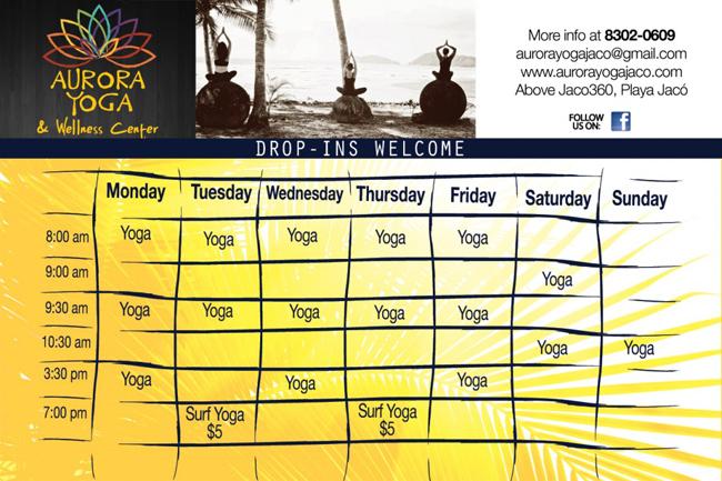Aurora Yoga Jaco Schedule
