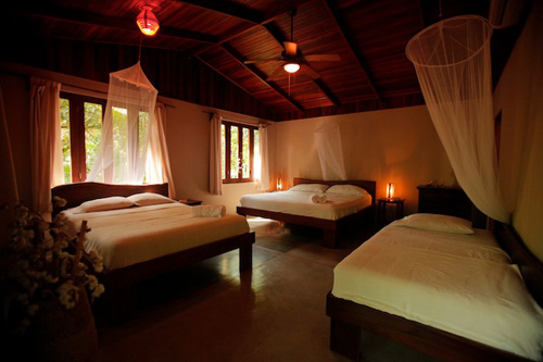 beautiful bed room with king and queen size beds,mosquito nets and large window