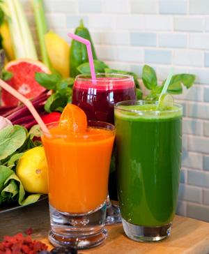 colorful raw fruit juice