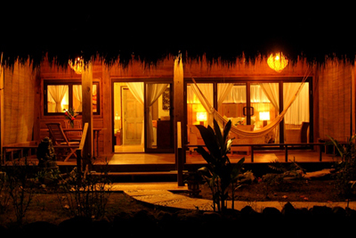 Nice front view of a beautiful bungalow with beautiful lighting