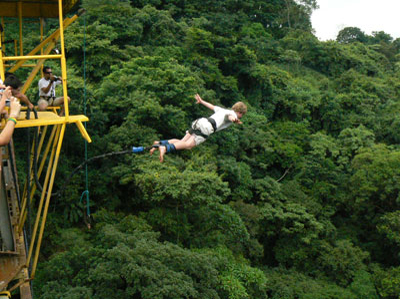 young woman having fun with bungee jumping