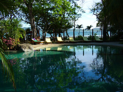 beautiful pool nestled between rich organic maintained gardens at capitan suizo
