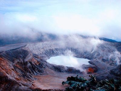 beautiful poas volcano under colorful sky