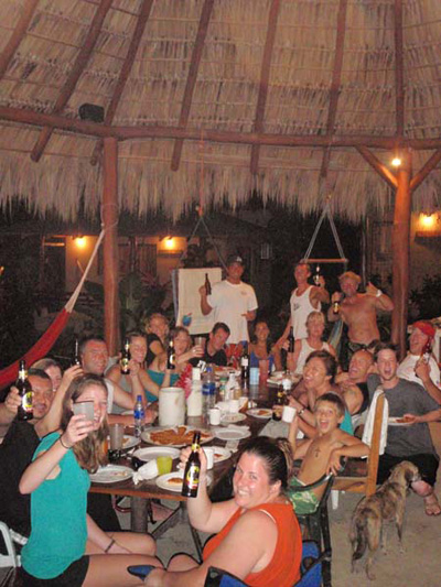 People enjoying dinner at Shaka Beach Retreat