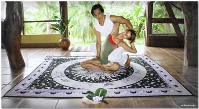 woman enjoying yoga massage