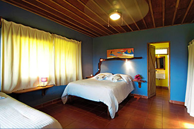 beasutifully decorated room with attached bathroom, king size bed and large windows