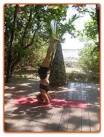 Jessica Ballard practicing headstand