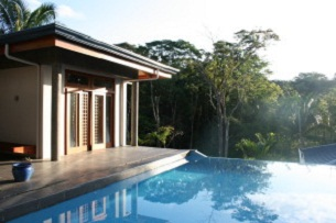 A beautiful front view of Pool side bungalow