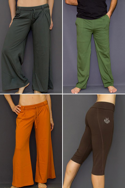 Different types of colorful Yoga pants