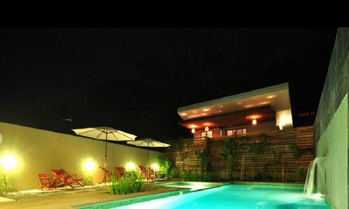 Pool side view of Nautilus hotel